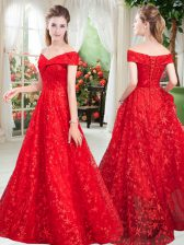 Beading Prom Party Dress Red Lace Up Sleeveless Floor Length