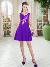 Purple Scoop Zipper Appliques Prom Dress Sleeveless