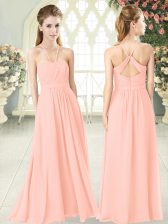Clearance Pink Empire Ruching Prom Dresses Criss Cross Chiffon Sleeveless Floor Length