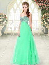 Flirting Sweetheart Sleeveless Prom Gown Floor Length Beading Apple Green Tulle