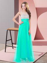 Turquoise Scoop Side Zipper Sequins Evening Dress Sleeveless