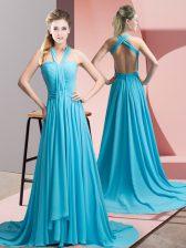 Fabulous Aqua Blue Backless Prom Party Dress Beading and Ruching Sleeveless Sweep Train