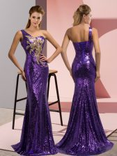 Flare Purple Prom Gown One Shoulder Sleeveless Sweep Train Lace Up