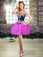 Sweetheart Sleeveless Lace Up Embroidery and Ruffles Prom Dress in Purple