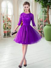 Artistic Purple Prom Party Dress Prom and Party with Lace Scalloped Half Sleeves Zipper