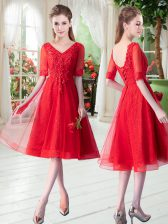 Red Lace Up V-neck Beading and Appliques Prom Evening Gown Tulle Half Sleeves