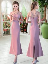 Fantastic Sleeveless Ankle Length Ruching Zipper Dress for Prom with Pink