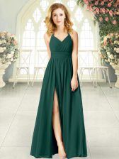Peacock Green Empire Chiffon Halter Top Sleeveless Ruching Floor Length Zipper Prom Dresses