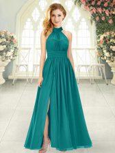 Teal Halter Top Neckline Ruching Homecoming Dress Sleeveless Zipper