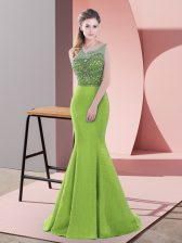 Green Lace Up Beading and Lace Sleeveless Sweep Train