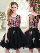 Black Sleeveless Tulle Zipper Prom Dresses for Prom and Party