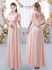 Stunning Pink Empire Appliques Quinceanera Dama Dress Zipper Chiffon Short Sleeves Floor Length