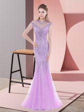 Mermaid Cap Sleeves Lilac Prom Gown Sweep Train Zipper