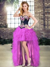 Exceptional High Low A-line Sleeveless Purple Dress for Prom Lace Up