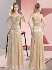 Glorious Champagne Evening Dress Prom and Party and Military Ball with Beading Sweetheart Sleeveless Zipper