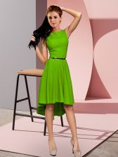 Attractive High Low Green Prom Evening Gown Scoop Sleeveless Zipper