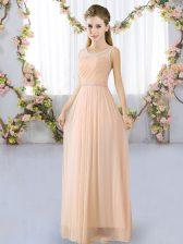 Customized Floor Length Empire Sleeveless Peach Damas Dress Lace Up