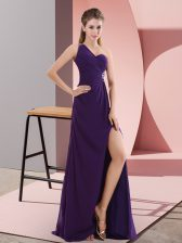 One Shoulder Sleeveless Sweep Train Backless Prom Gown Purple Chiffon