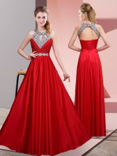 Sleeveless Floor Length Beading Lace Up Evening Dress with Red