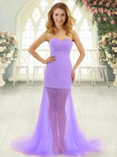 Superior Lavender Mermaid Sweetheart Sleeveless Tulle Brush Train Zipper Beading Prom Party Dress