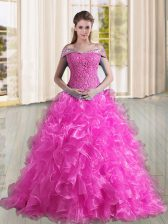 Edgy Organza Off The Shoulder Sleeveless Sweep Train Lace Up Beading and Lace and Ruffles 15 Quinceanera Dress in Fuchsia