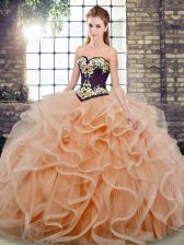 Graceful Sweetheart Sleeveless Sweet 16 Quinceanera Dress Sweep Train Embroidery and Ruffles Peach Tulle