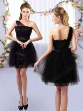 Classical Tulle One Shoulder Sleeveless Side Zipper Lace Quinceanera Court of Honor Dress in Black