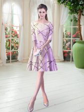 Lilac Scoop Neckline Ruching Prom Dress Half Sleeves Lace Up