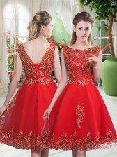 Custom Made Sleeveless Tulle Knee Length Lace Up in Red with Beading and Appliques