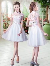Short Sleeves Tulle Knee Length Zipper Dress for Prom in White with Appliques