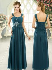 Adorable Sleeveless Lace Up Floor Length Beading and Ruching