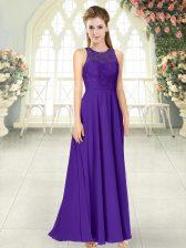 Purple Chiffon Backless Prom Party Dress Sleeveless Floor Length Lace