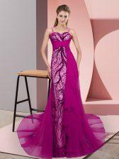 New Arrival Fuchsia Spaghetti Straps Neckline Beading and Lace Dress for Prom Sleeveless Zipper