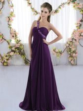 Attractive Chiffon Sleeveless Quinceanera Court Dresses Brush Train and Beading