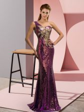 Romantic Purple Mermaid Sequined One Shoulder Sleeveless Beading and Appliques Lace Up Homecoming Dress Brush Train