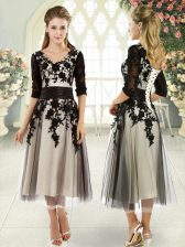 On Sale Tea Length Black Prom Evening Gown V-neck Half Sleeves Lace Up