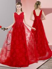 Modest Red Prom Gown Lace Sweep Train Sleeveless Beading