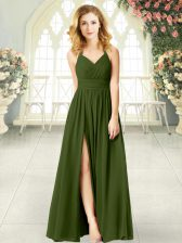 Olive Green Halter Top Zipper Ruching Prom Party Dress Sleeveless