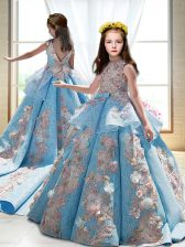 Custom Fit Blue Ball Gowns Satin High-neck Sleeveless Appliques Backless Girls Pageant Dresses Court Train