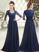 Blue Sweetheart Zipper Pick Ups Homecoming Dress Sweep Train Long Sleeves