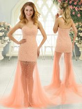 Deluxe Sleeveless Tulle Brush Train Zipper Prom Party Dress in Orange and Peach with Beading