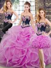 Noble Tulle Sweetheart Sleeveless Sweep Train Lace Up Beading and Embroidery and Ruffles Quinceanera Dresses in Lilac
