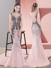 Excellent Side Zipper Dress for Prom Pink for Prom and Party with Beading and Lace Sweep Train