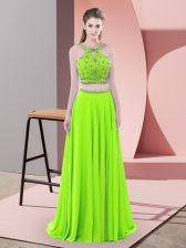 Two Pieces Sleeveless Dress for Prom Sweep Train Backless