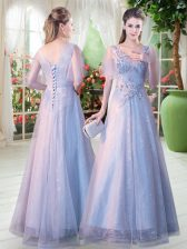 Comfortable Grey Tulle Lace Up V-neck Short Sleeves Floor Length Prom Dress Appliques