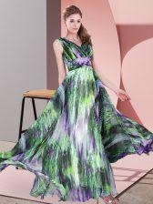 Fabulous Multi-color Sleeveless Pattern Floor Length Prom Dresses