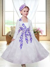 White A-line Straps Sleeveless Lace Ankle Length Zipper Embroidery Flower Girl Dresses for Less