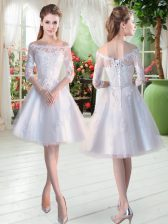 White Off The Shoulder Neckline Lace and Appliques Prom Dresses Half Sleeves Lace Up