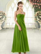 Ankle Length Zipper Prom Dress for Prom and Party with Ruching