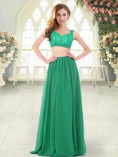 Flirting Green Chiffon Zipper Straps Sleeveless Floor Length Prom Gown Beading and Lace